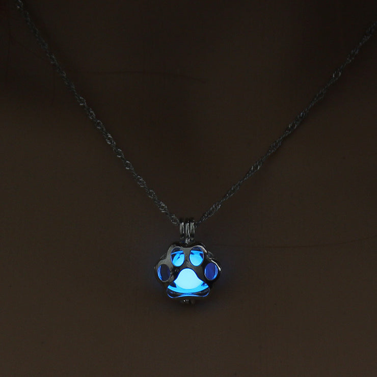 luminous cage necklace can open hollow cat claw DIY pendant Halloween love