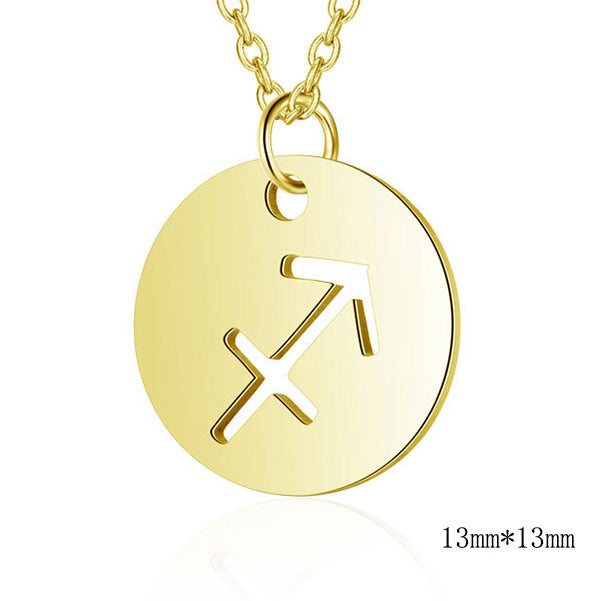 Hollow 12 Constellation Pendant Necklace