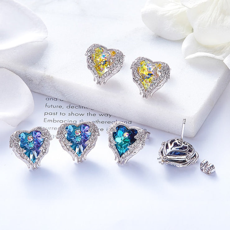 Angel Wings Heart Stud Earrings