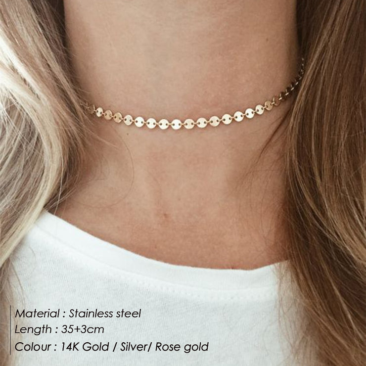 Simple Steel Chain Choker Necklace 3 in 1