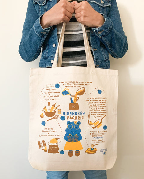 Hippo & Blueberry Baghrir Recipe Tote Bag