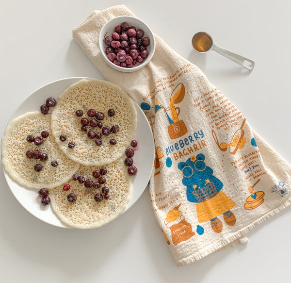 Blueberry Baghrir Recipe Tea Towel
