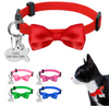 KnoTag® Personalized Engraved ID Dog Collars Bowknot With Anti-Lost Fish Tag