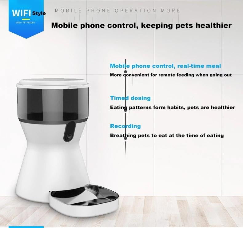 Smart Automatic Pet Feeder WiFi Video Remote Control