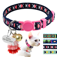 Boho Tag® Bohemian Style Personalized Cat Collar With Bell Customized Kitten Necklace Free Engraving