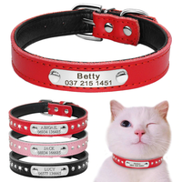 Kitty Tag® Personalized Dog Cat Collar Leather Rhinestone Nameplate