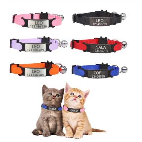 Nam-Name® Personalized ID Free Engraving Cat Collar with Bell Safety Breakaway