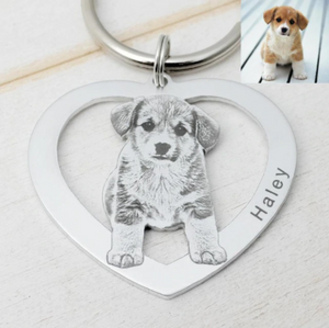 Hang-It® Custom Dog Picture Keychain Dog Photo Keyring Pet Memorial Gift