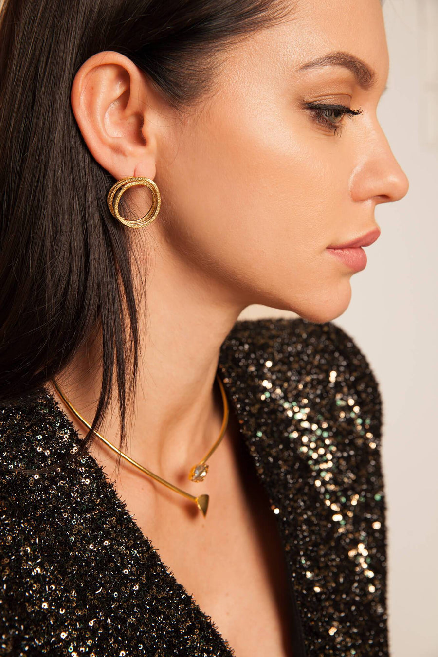 Artisia earrings from gold plated bronze greek handmade jewerly yasemia
