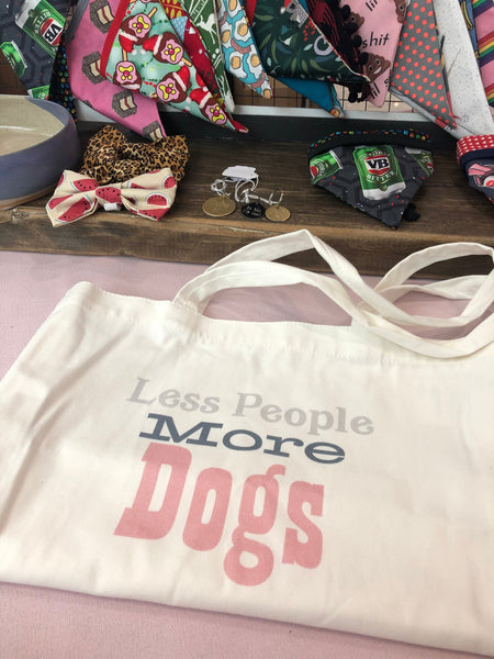 Cotton Tote Less People More Dogs