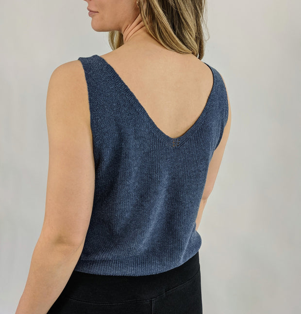 Athena Knitted Top - Dark Blue Steel