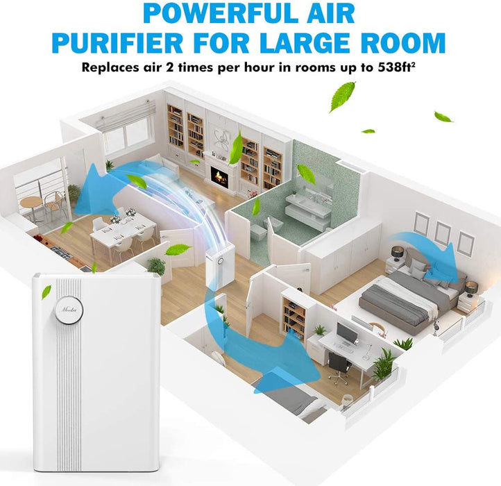 Mooka Air Purifier for Large Rooms True HEPA Air Filter