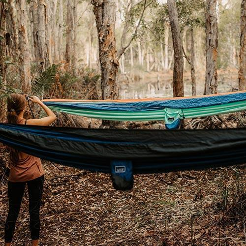 Recycled Double Hammock x 2 Couple Combo Camping & Hiking (Sleep) Nakie