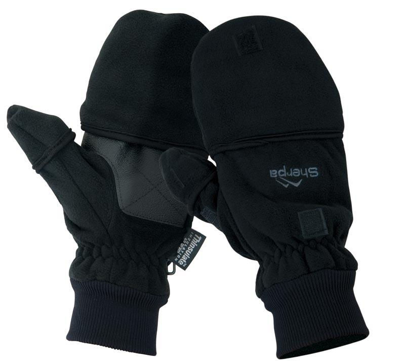 Sherpa Fleece Convertible Mitt/Shooters Glove Black Camping & Hiking (Accessories) Sherpa