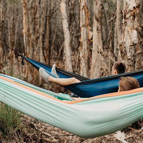 Sky Blue - Recycled Double Hammock with Straps Camping & Hiking (Sleep) Nakie