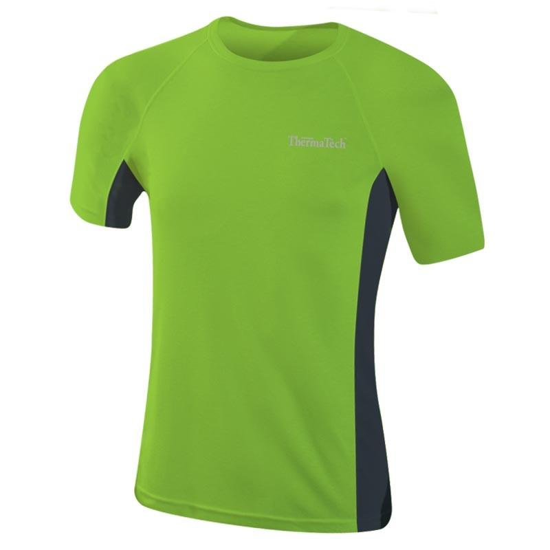 Thermatech Mens Ultra Short Sleeve Baselayer T-Shirt Green/Charcoal Mens Tops Thermatech