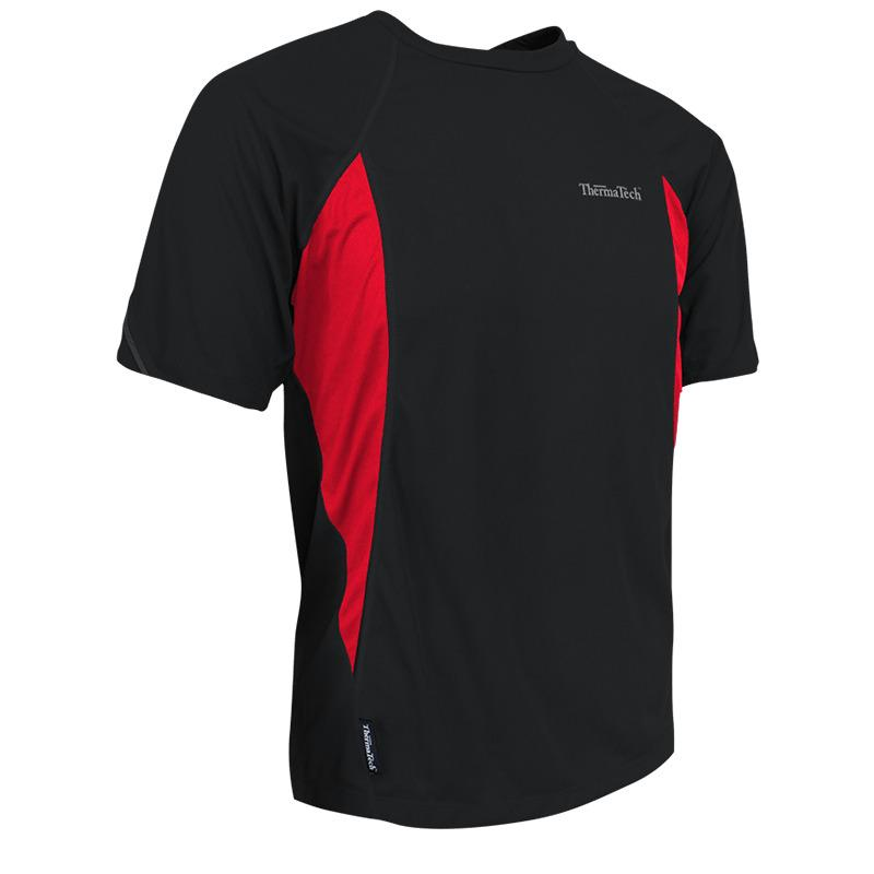 ThermaTech Mens UPF50 Performance T-Shirt Black/Red Mens Tops Thermatech
