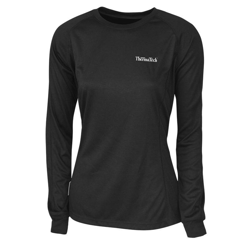 Thermatech Womens Ultra Long Sleeve Midlayer Top Black Womens Tops Thermatech