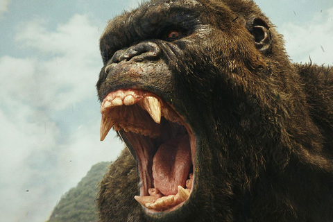 King Kong with his mouth open, baring his teeth.