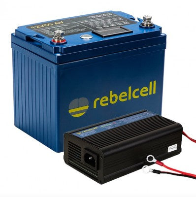 Rebelcell 12V50AV Li-ion Battery + Charger 12.6V10A Li-ion + 2kg Boilies
