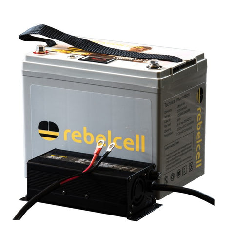 Rebelcell Li-ion Battery 24V / 50AH + 29.4V12A Charger + 2kg Carptrack Boilies