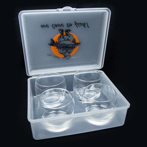 "Set of 4: iGlass - with engraving ""we love to fish!"""
