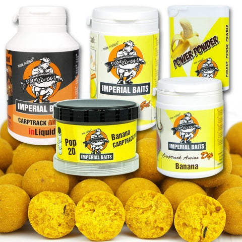 IB MAXI Menu Banana Boilies 8 kg / 16 mm + Dip, Gel, inLiquid, Power Powder, Pop Ups & iBox