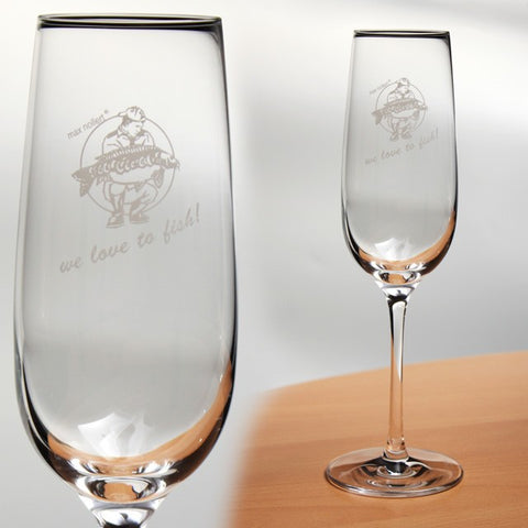 """we love to fish!"" Champagne glass - lasered"