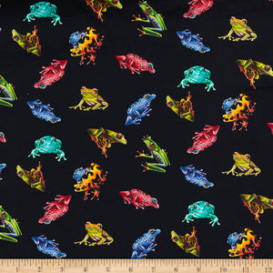 Small Frog Tossed Allover - Jewels of the Jungle, 5562-99 Black