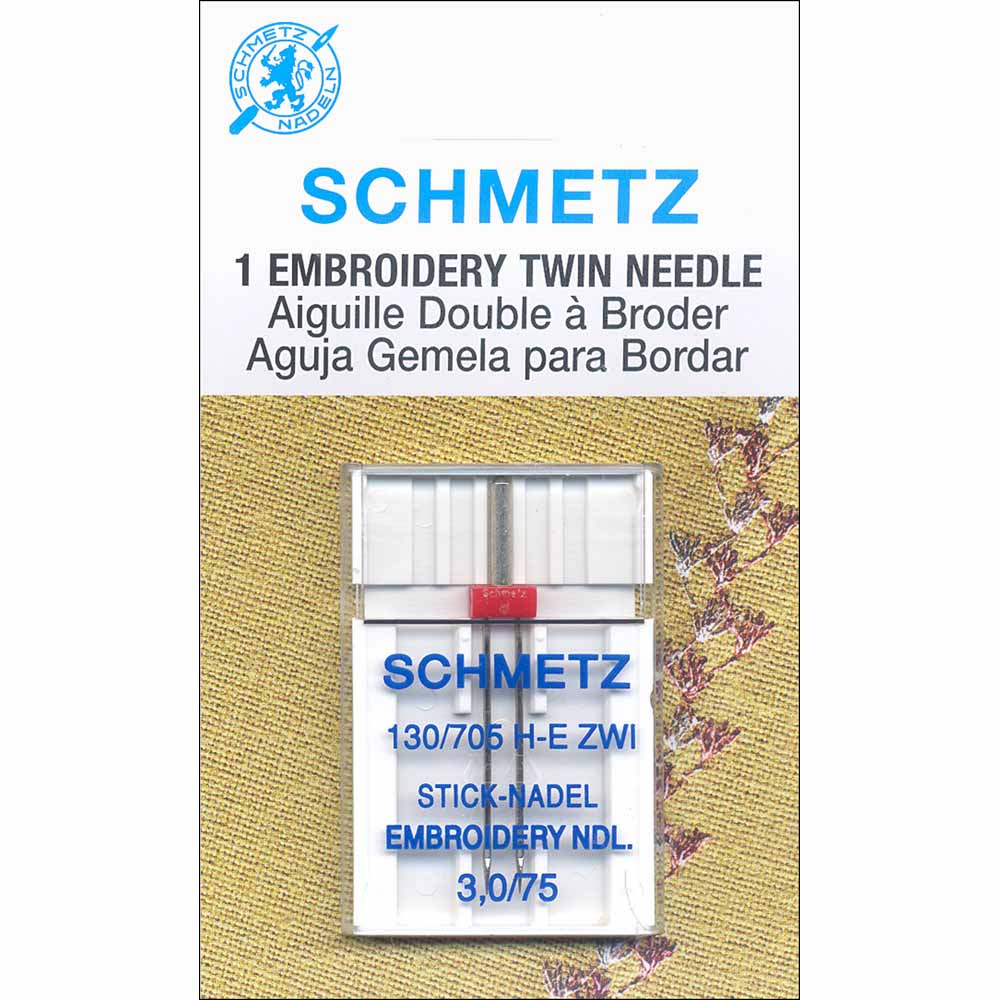 SCHMETZ #1737 Embroidery Twin Needles Carded - 75/11 - 3.0mm - 1 count