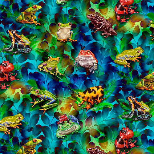 Frog and Foliage - Jewels of the Jungle, 5563-17 Cerulean