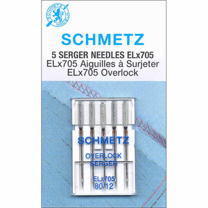 SCHMETZ #1820 Serger Needles Elx705 Carded - 80/12 - 5 count