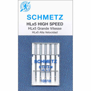 SCHMETZ #1843 HLx5 Quilters' Machine Needles Carded - 100/16 - 5 count