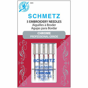 SCHMETZ #4045 Chrome Embroidery - 75/11 - 5 count