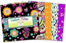 "Load image into Gallery viewer, Feathers and Foliage 5 Karat Crystals Charm Pack - 42 piece, 5"" Fabric Squares - Teal Pink Yellow Floral Fabric"
