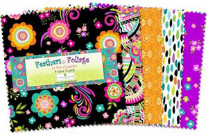 "Feathers and Foliage 5 Karat Crystals Charm Pack - 42 piece, 5"" Fabric Squares - Teal Pink Yellow Floral Fabric"
