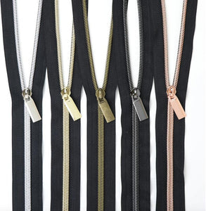 BLACK #5 Nylon Coil Zippers: 3 Yards with 9 Pulls