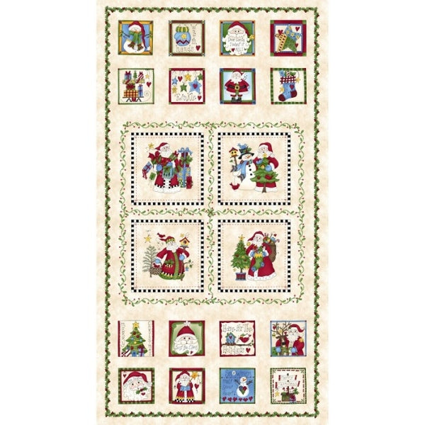Just Be Claus Christmas on Cream Fabric Panel - MAS8620-E