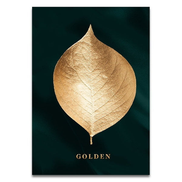 Gold Leaves Stretched Canvas - Villa and Oak