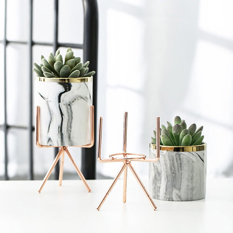 Lucca Marble Pot Plant Stand - Villa and Oak