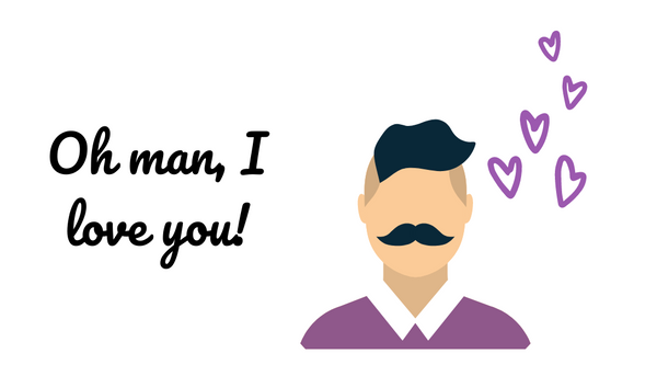 """Oh man, I love you!"" card with mustachioed man and purple hearts to match the So Sexy for Him scent."