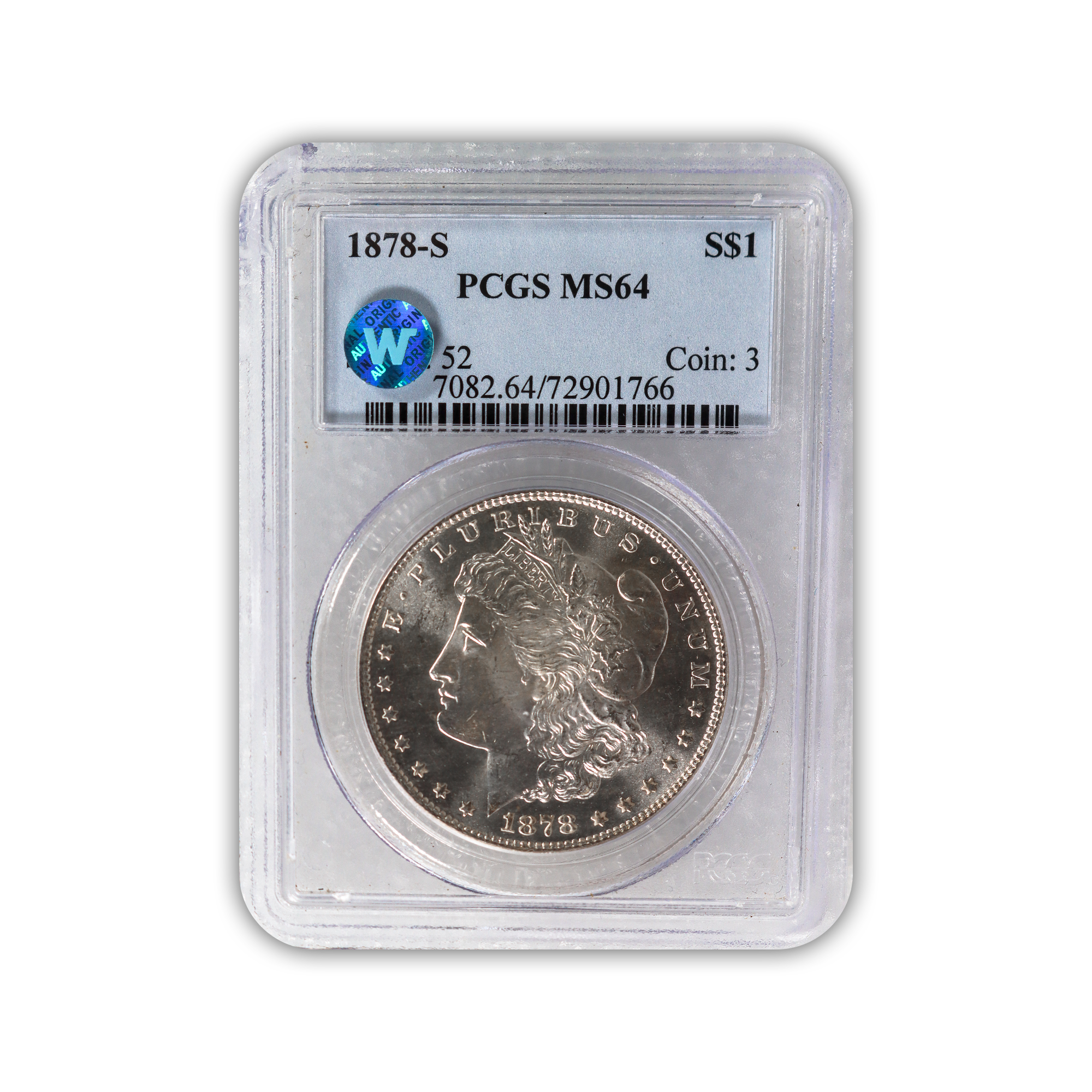 1878 Morgan Silver Dollar San Francisco - PCGS MS64 Sight White