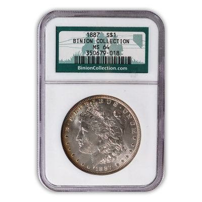1887 Morgan Silver Dollar Philadelphia - NGC MS64 Binion Hoard