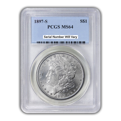 1897 Morgan Silver Dollar San Francisco - PCGS MS64
