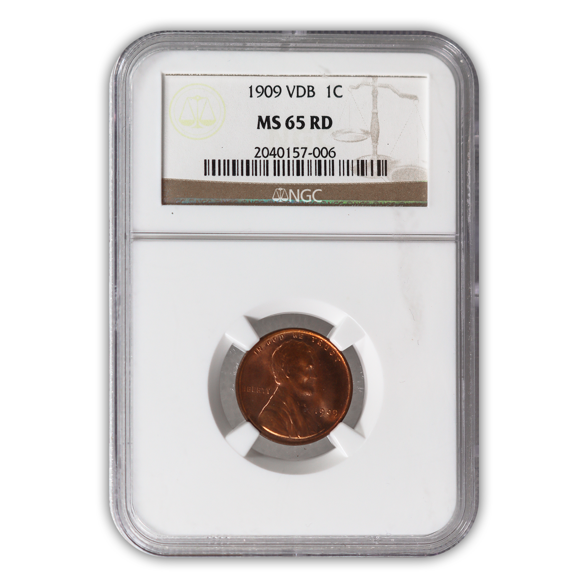 1909 VDB Lincoln Cent Philadelphia - NGC MS65 RD