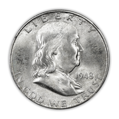 1948 Franklin 90% Silver Half Dollar Denver - Uncirculated