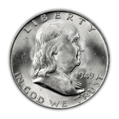 1949 Franklin 90% Silver Half Dollar Denver - Uncirculated