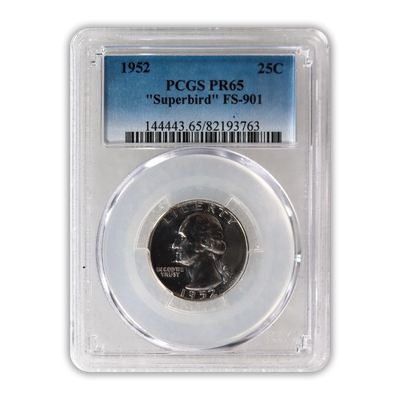 1952 Washington Silver Quarter Philadelphia - FS 901 Superbird  - PCGS PR65
