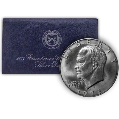 1973 Eisenhower 40% Silver Dollar San Francisco - Uncirculated Blue Pack (OGP)