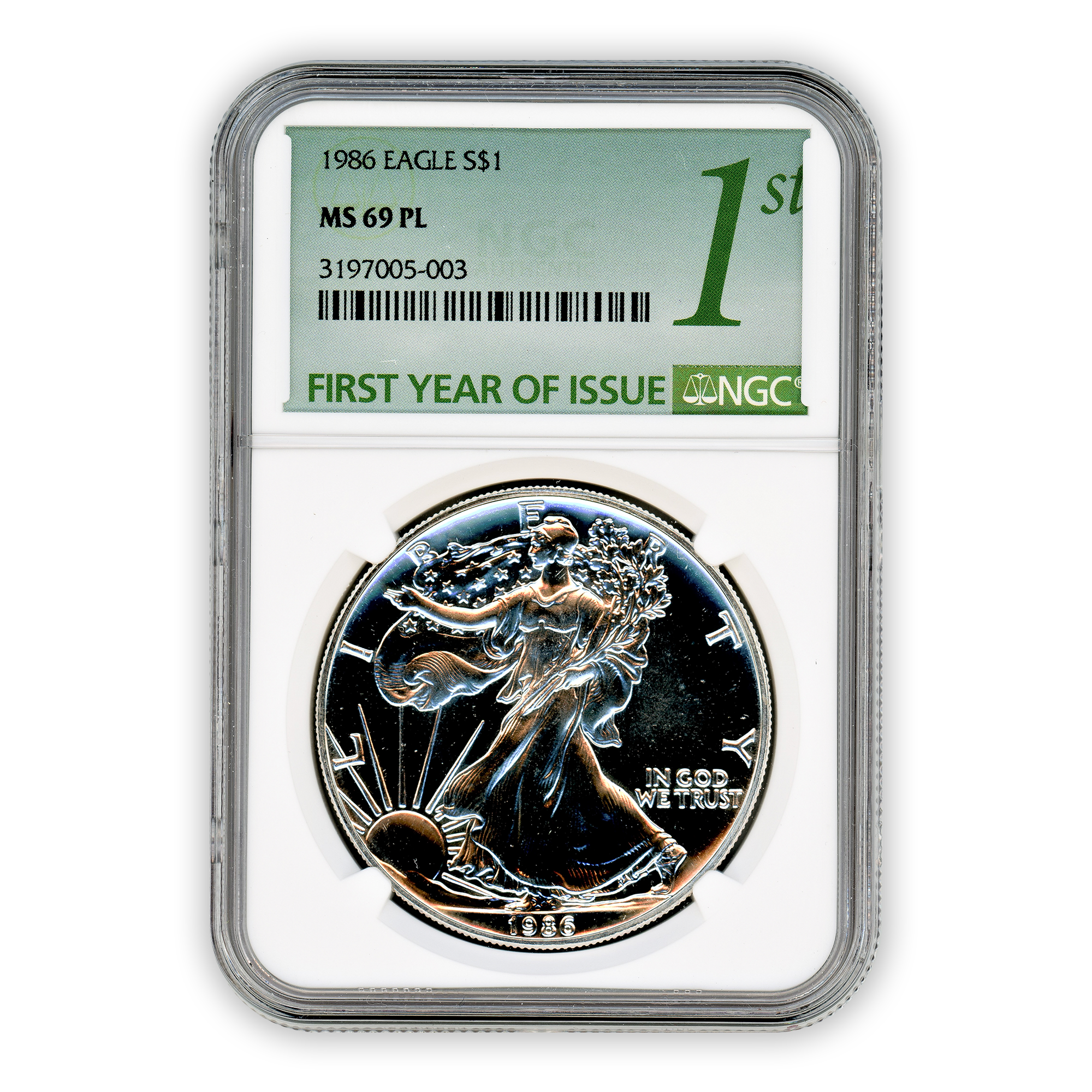 1986 Silver Eagle - Business Strike - NGC MS69PL Prooflike